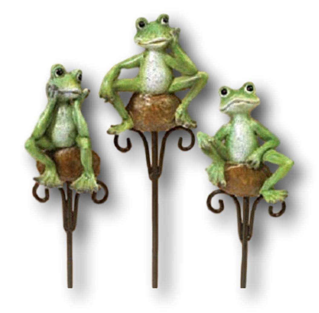 Set of 3 Cute Frogs on Stone Flower Garden Stake for Potted Plants or Garden Mission Gallery