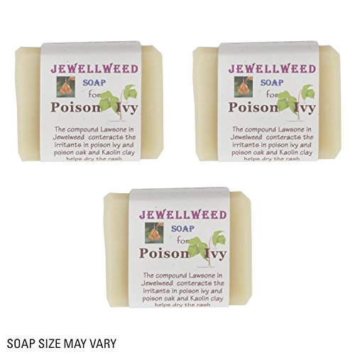 Jewelweed Soap - 100% Natural - with Kaolin Clay for POISON IVY, POISON OAK, & SUMAC Handmade in the USA (3 Pack) -