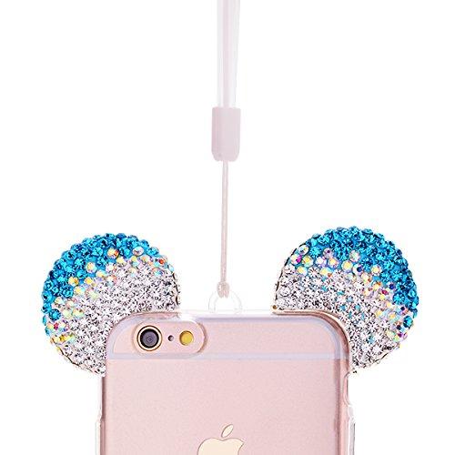 GrandEver Coque iPhone 6S Silicone TPU Etui Souple iPhone 6 Housse Glitter Bling Brillant Transparent Arrière Strass Oreilles Motif Shell Cas Haute qualité Couverture Accessories de Protège Protecteur