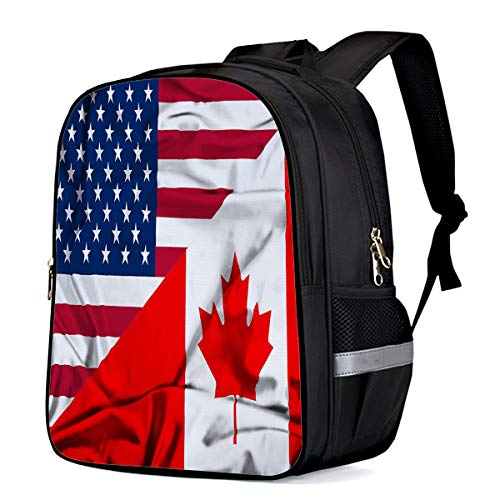Water Resistant School Backpack, Canada American Flag Maple Leaf Stars Stripes Oxford 3D Print College Student Rucksack Daypack for School Camping Travel 41x30x17cm