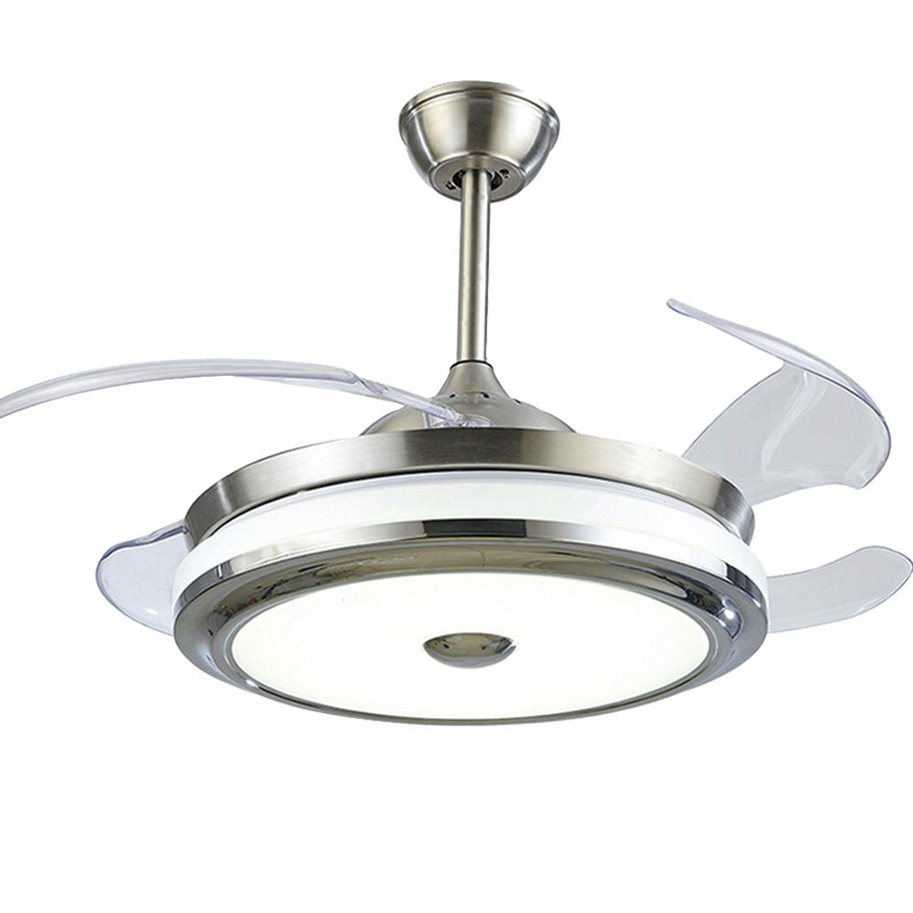 FINE MAKER 36inch Ceiling Fan with LED Integration Lights Retractable Blade Three-Color Light with Remote Control Speed Adjustment for Living Room Bedroom Restaurant Silver