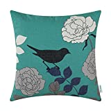 CaliTime Canvas Throw Pillow Cover Case for Couch Sofa Home Decoration Floral Cartoon Shadow Bird Silhouette 20 X 20 inches Teal Ground Black Bird