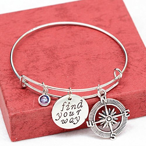 Dolland Expandable Wire Bangle Bracelet Engraved Round Charm Pendant Adjustable Bracelets Bangle Gift for Couple,Style 3 Round Pendant Bracelet