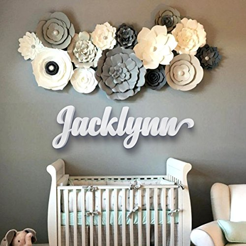 Wooden Letter Decor Hanging Room (Nursery Letters - Baby Nursery Wall Hanging Letters in Script Font - Baby Name Sign - Kids Room Decor - Housewarming Gift - Nursery Decor - dad gifts - gifts for mom)