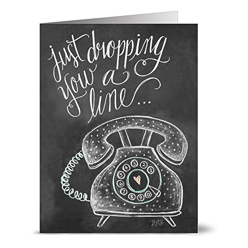 Dropping a Line - 36 Chalkboard Note Cards - Blank Cards - Kraft Envelopes Included