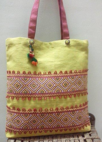 Panigha Handmade Top Handle, Carry All Handbag in Pistachio Green Cotton Fabric