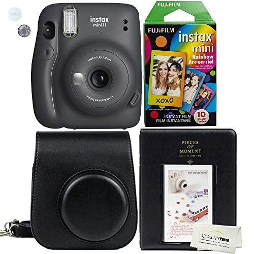 Fujifilm Instax Mini 11 Charcoal Grey Instant Camera Plus Matching Case, Photo Album and Fujifilm Character 10 Films…