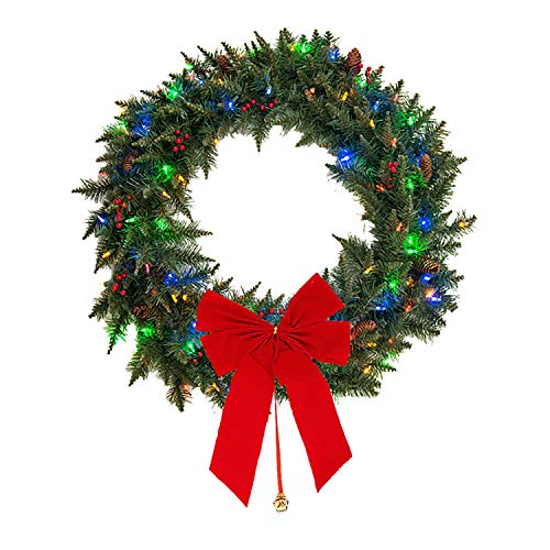 Mr. Light Dual Color 35 LED 24 inches Wreath with Red Berries and Pinecones, Changeable from Warm White to Multi Color, Battery Operated, Uses 3 AA Batteries. Includes Removable Red Bow.