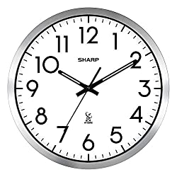 Sharp Atomic Analog Wall Clock - 14 Silver Brushed Finish - Sets Automatically - Easy to Read - SPC971