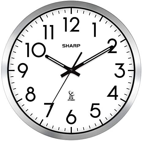 Sharp Atomic Analog Wall Clock – 12 Silver Brushed Finish – Sets Automatically- Battery Operated – Easy to Read – Easy to USE Simple, Easy to Read Style fits Any Decor