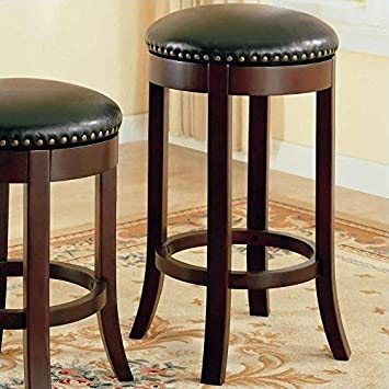 29 Swivel Bar Stools with Upholstered Seat Walnut and Dark Brown Set of 2