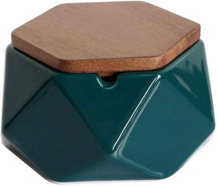 53mm,Green Knoijijuo Cendrier avec Couvercle pour ext/érieur D/écoration Minimaliste en c/éramique Noire Plate 100