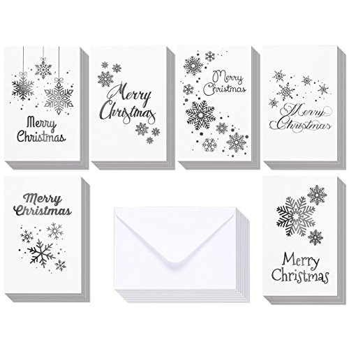 Foil Box Set (48-Pack Merry Christmas Greeting Cards Bulk Box Set - Winter Holiday Xmas Greeting Cards in 6 Silver Foil Designs, Envelopes Included, 4 x 6 Inches)