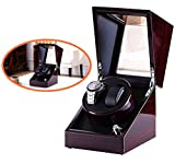 Double Watch Winder, Love Nest High-Grade Japanese Mabuchi Motor Wood Automatic Watch Winder Burgundy and Black Inside Piano Finish Pure Handmade with Quiet Watch Winder Box [Power Included]