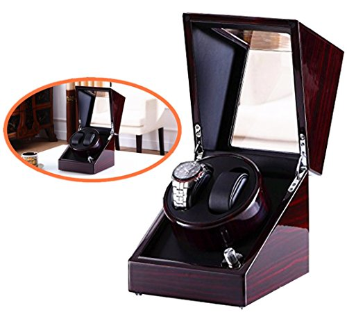 Double Watch Winder, Love Nest High-Grade Japanese Mabuchi Motor Wood Automatic Watch Winder Piano Finish Pure Handmade with Quiet Watch Winder Box[Power Included]
