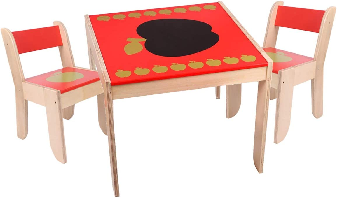 Red Apple Wooden Activity Table for 1-5 Years Old Toddler Table and Chairs 2 Kids Furniture Toy HONNIEKIS Kids Table and Chairs Sets