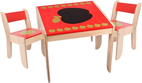 Mesa infantil y sillas, silla de mesa infantil, mesa de madera para niños, 2 sillas, mesa