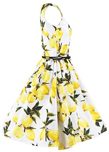 U-shot Lady de 1950s limón sin mangas Retro oficina noche fiesta Swing vestido