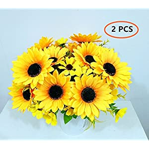 """Ieoyoubei 2 PCS Bouquet of Artificial Silk Flower Sunflower 12"""" Bouquet and Green Leaf for Home Decoration Bridal Wedding Festival Decoration Small Flower (Yellow-Orange) 3"""
