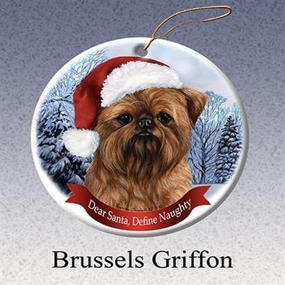 Holiday Pet Gifts Brussel S Griffon Santa Hat Dog Porcelain Christmas Ornament