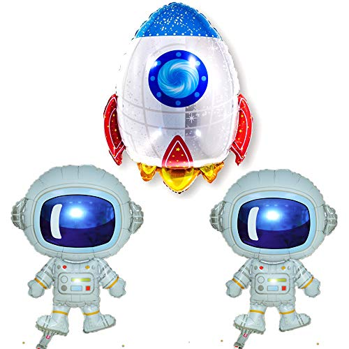 Pack of 3 Astronaut Rocket Balloons Cartoon Space Theme Party Balloons Foil Mylar Balloons for Birthday Party Decoration