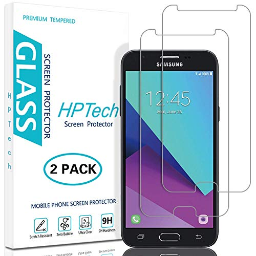 HPTech Galaxy J3 2017 Screen Protector - (2-Pack) [Japan Tempered Glass] for Samsung Galaxy J3 Luna Pro/J3 Prime/J3 Mission/J3 Emerge/J3 Eclipse Easy to Install with Lifetime Replacement Warranty