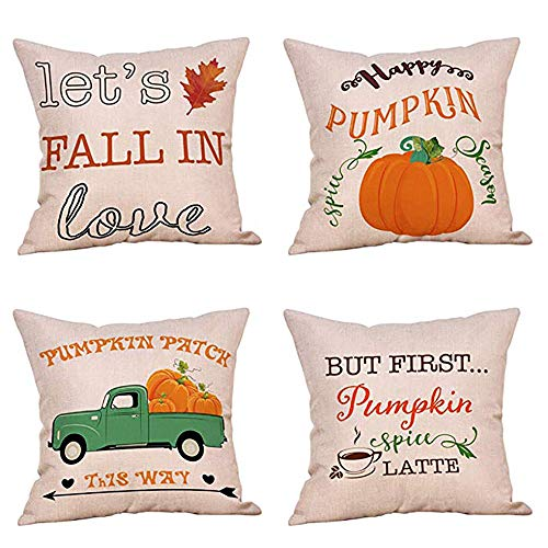 Newkelly 4PC Halloween Home Car Bed Sofa Decorative Letter Pillow Case Cushion Cover