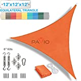 Patio Paradise 12' x 12' x 12' Sun Shade Sail with 6 inch Hardware Kit, Orange Equilateral Triangle Canopy Durable Shade Fabric Outdoor UV Shelter - 3 Year Warranty - Custom