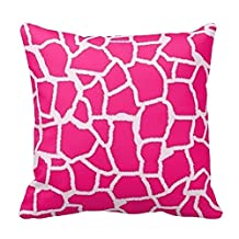 Deep Pink Giraffe Animal Print Zippered Decorative Pillow Cushion Case Covers for Sofa 18x18 Inch Two Sides