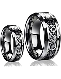 his hers 8mm6mm dragon design tungsten carbide wedding band ring set available sizes 5 14 including half sizes - Tungsten Wedding Ring Sets