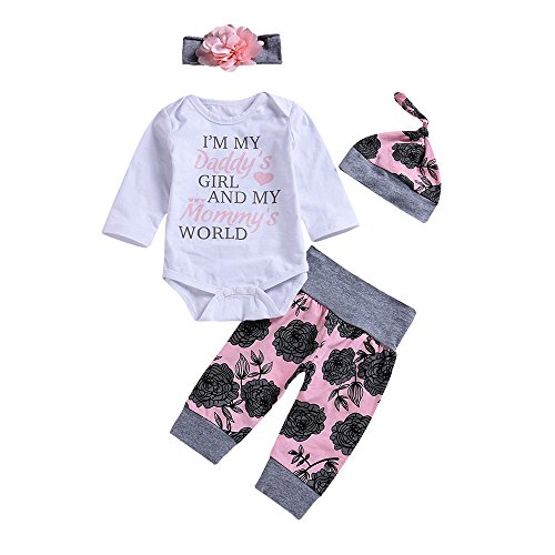 4Pcs Baby Girls Clothes Set Daddy's Girl Romper Tops+Floral Pants+Hat+Flower Headband (Pink, 3-6 Months)