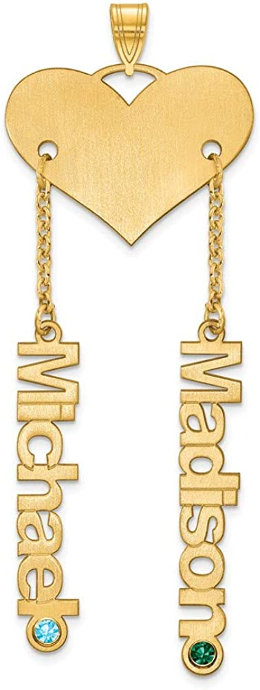 Width = 25mm 925 Sterling Silver Yellow Gold-Plated Heart and 2 Name and Birthstone Charm Brushed Matte Finish Pendant
