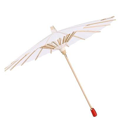 Zerodis Papel Parasol Chino/Japonés Paraguas Decorativo Blanco DIY Pintura Decorativa Paraguas de Boda Nupcial