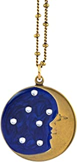 product image for Anne Koplik Enamel Crescent Moon and Stars Pendant Necklace, Antique Gold Plated