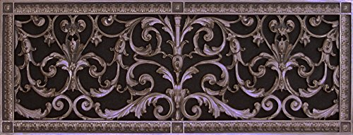 "Decorative Vent Cover, Grille, made of Urethane Resin in Louis XIV, French style fits over a 10""x 30"", Total size, 12"" by 32"", for wall & ceiling installation only. (not for floors) (Rubbed - Wall Vent Flat Bronze"