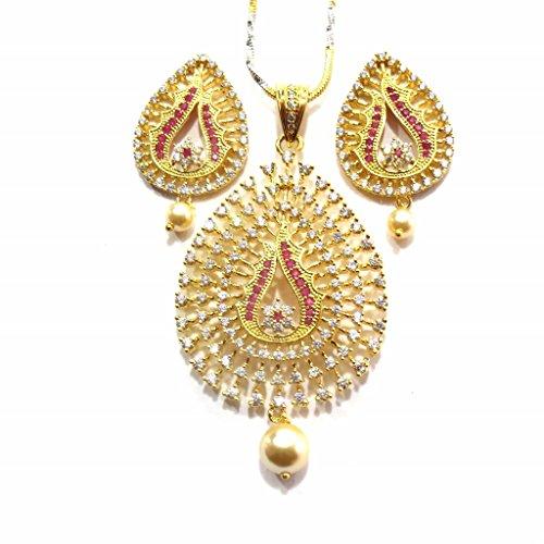 Jewelshingar Jewellery Cubic Zirconia Necklace Set For Girls ( 17963-psad-ruby ) by Jewelshingar