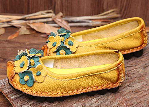 Soojun Womens Cowhide Leather Loafers Flat Shoes Slip-Ons Style 1 Yellow XNfKeCcS