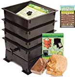 """Worm Factory 3-Tray Worm Composting Bin + Bonus """"What Can Red Wigglers Eat?"""" Infographic Refrigerator Magnet - Vermicomposting Container System - Live Worm Farm Starter Kit for Kids & Adults"""