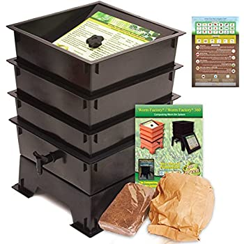 "Worm Factory DS3BT 3-Tray Worm Composting Bin + Bonus ""What Can Red Wigglers Eat?"" Infographic Refrigerator Magnet - Vermicomposting Container System - Live Worm Farm Starter Kit for Kids & Adults"