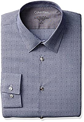Calvin Klein Men's Stretch Xtreme Slim Fit Textured Mini Check Point Collar Dress Shirt