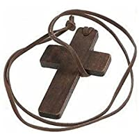 TenDollar Wooden Cord Gift Religious Christian Leather Pendant Cross Accessories Necklace By TenDollar