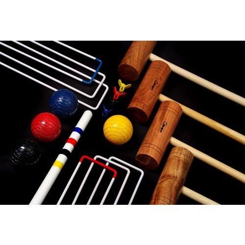 Übergames Hochwertiges komplettes Familien Krocket Set mit 4 unterschiedlich langen Schlägern und Bällen aus ECO-Holz