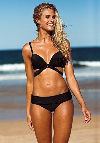 LookBook Store de las mujeres correas Twist Cruz Bandeau Bikini de dos piezas de baño Negro
