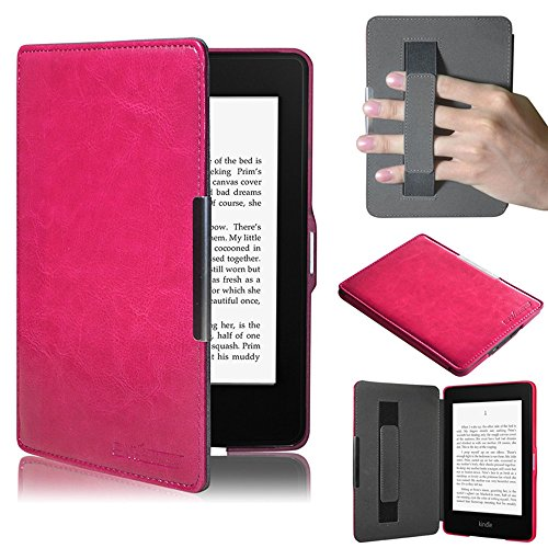 Holding Strap - TuoP@Ultra Slim the Thinnest and Lightnest Leather Case/Kindle Paperwhite/Kindle Paperwhite 3G with Elastic Hand Strap,Magnetic Auto Sleep Wake Function,Includes Screen Protector (Pink)