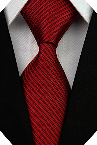 (Wehug Men's Classic Solid Tie Silk Woven Necktie Jacquard Neck Dark Red Ties For Men LD0053)