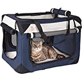 """Soothing """"Happy Cat"""" Med-Large Soft Sided Cat Carrier & Travel Crate, Comfy Plush Sleep Pillow 4X Interior Space Airy Windows, Sunroof, Collapses, Folds, Lightweight Stylish, Washable, Reduces Anxiety"""