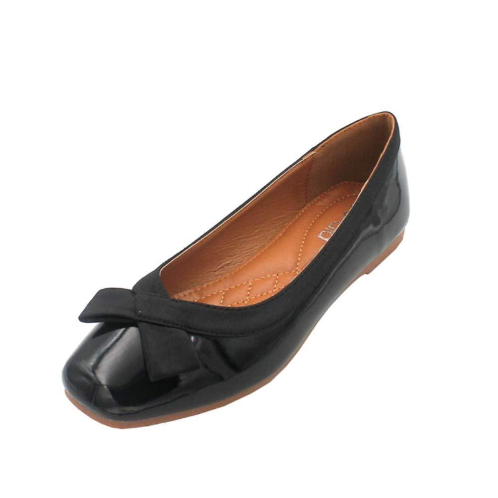 noir 37 EU AJUNR Femmes Loisirs Nouveau Style Baitao Version Coréenne Bow à Fond Plat Travail Chaussures à Semelle Souple 1 Cm