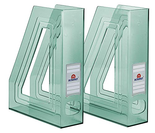 Acrimet Magazine File Holder (Clear Green Color) (2 - Pack)