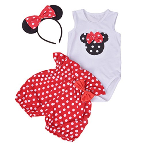 Amberetech Infant Baby Girl Mini Mouse Shorts Suits Romper Outfit 3Pcs Clothing Set (Mini Mouse-Red, for 3-6 Months)