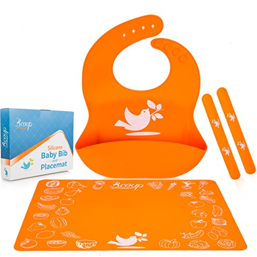 Silicone Baby Bib and Placemat Set for Boys and Girls | Comfortable Waterproof No-stains Feeding Baby Kit | Soft and Easily Wipes Clean Bib for Babies or Toddlers + Bonus 2 Securing Straps ()